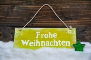 Frohe Weihnachten - Holzschild mit Text